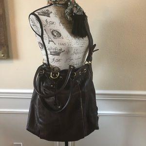 Oversized leather shoulder bag